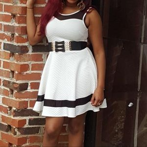 White and black peplum dress: belt not included
